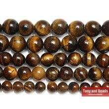 Pierre naturelle AB + perles rondes en œil de tigre, couleur or brun, 15 pouces, 3, 4, 6, 8, 10, 12, 14MM