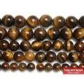 """Frete Grátis Pedra Natural Brown Ouro Tiger Eye Ágata Rodada Beads 15 """"Strand 2 3 4 6 8 10 12 14 MM Escolha Tamanho Para Jóias SAB9"""