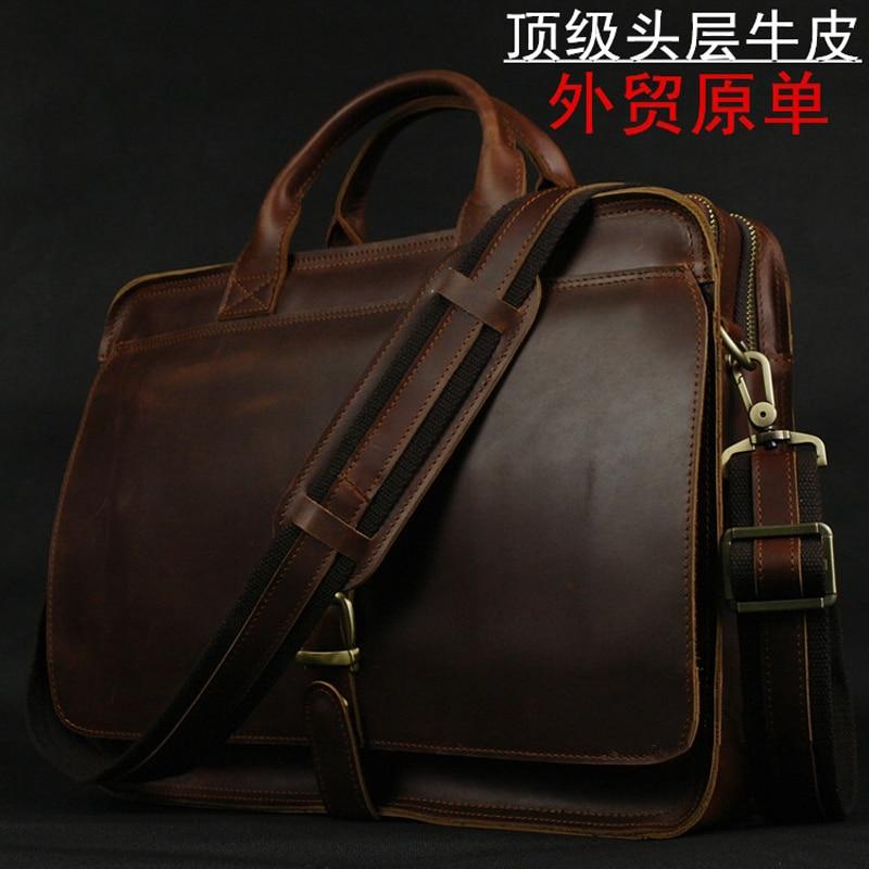 Luxury Italian Genuine Leather Men s Briefcase Business Bag Leather laptop briefcase Men Shoulder Bag Messenger