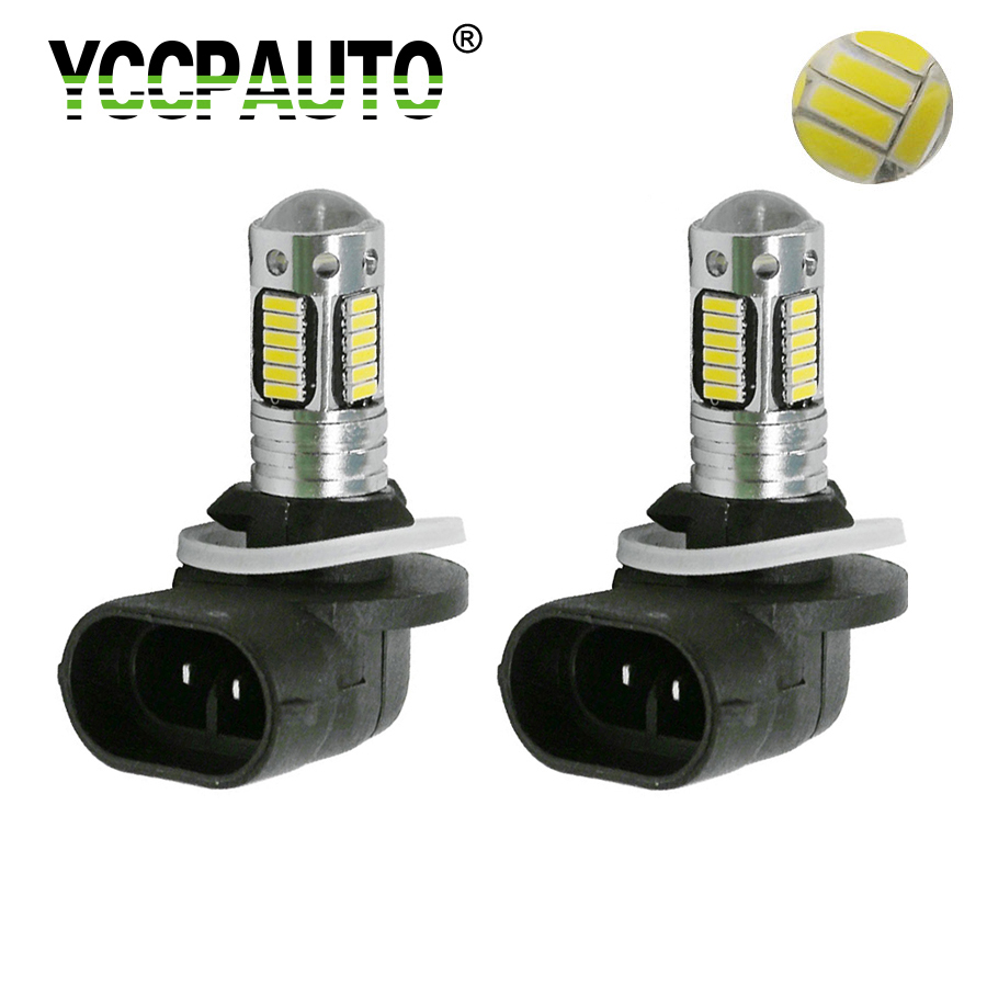 Yccpauto 2 pçs h27 880 881 led luzes de nevoeiro h27w/2 h27w2 carro lâmpadas 4014 30 smd auto drving nevoeiro lâmpada drl branco azul amarelo 12 v