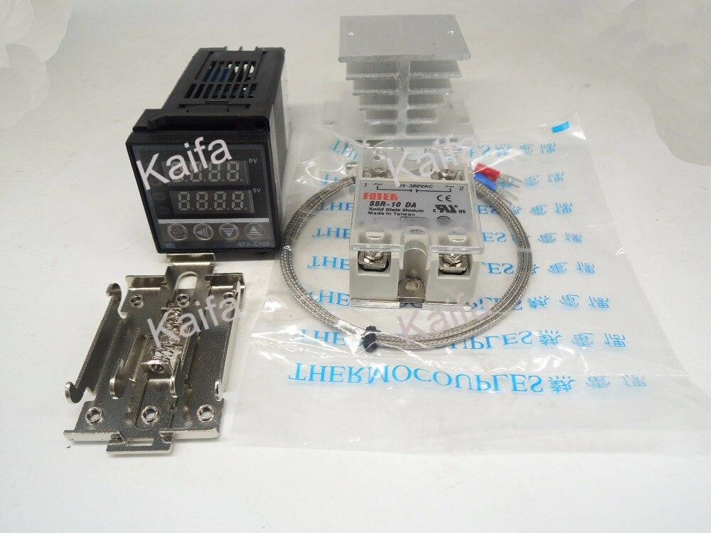 DigitalPIDTemperature Controller Thermostat REX-C100  + 1M K Thermocouple Probe+SSR10DA+ Radiator+Protective Covers + clip clamp