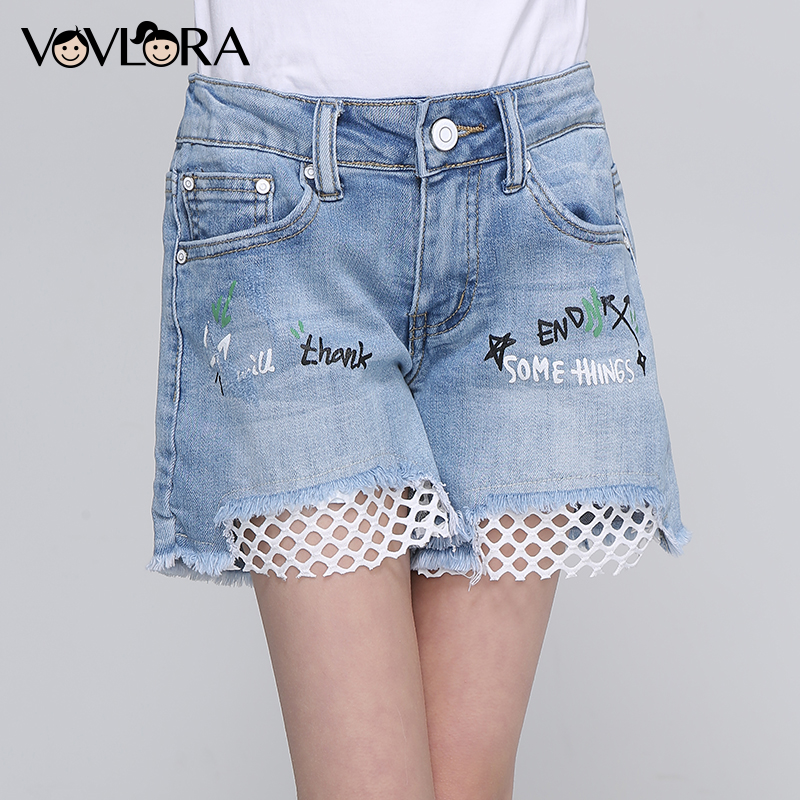 Girls Denim Shorts Mesh Patchwork Solid Kids Summer Short Low Print Letter Children Clothes Casual Size 9 10 11 12 13 14 Years цена 2017