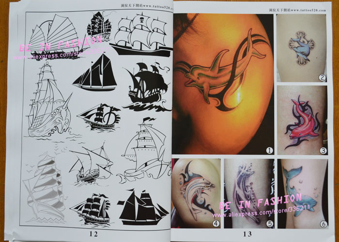 Tattoo Book Flash 2013 New Love Flower Fish Skull Sailboat Designs Works Manuscripts Sketch 3d Art