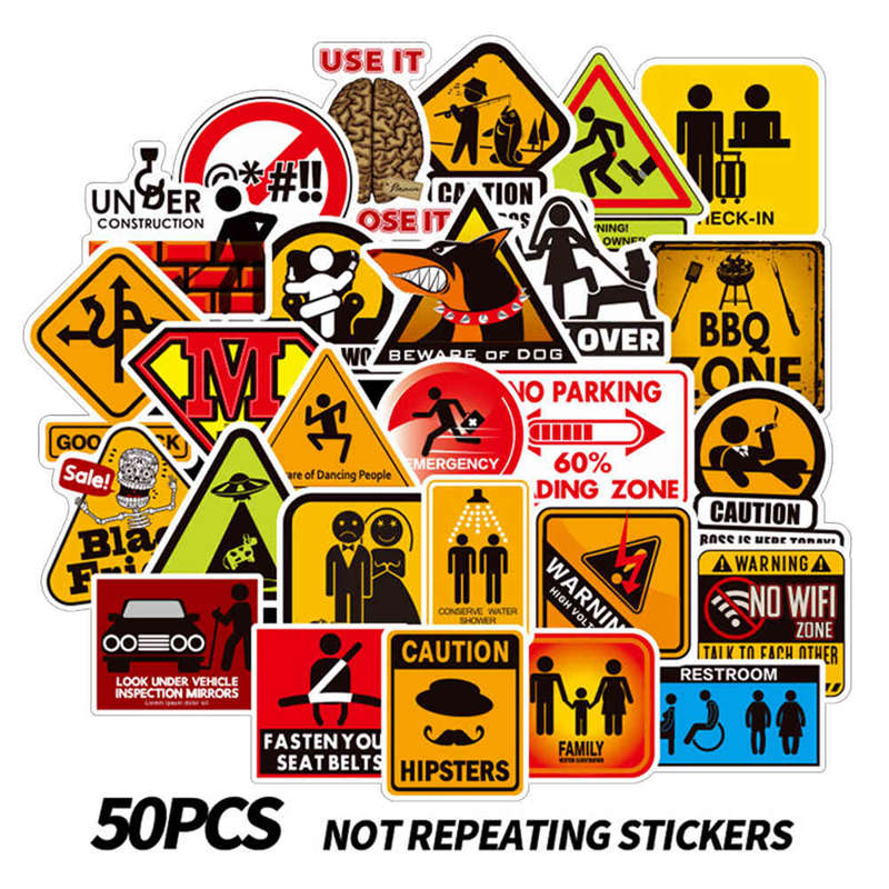 2019 Latest Design 50 Pcs/set Warning And Logo Graffiti Sign Stickers For Luggage Laptop Phone Toy Notebook Pvc Waterproof Stationery Stickers To Help Digest Greasy Food Office & School Supplies