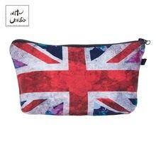 370864894a61 Кто заботится Мода британский флаг 3D печать Макияж сумки Косметические  Сумки для путешествий дамы чехол для женщин косметичка