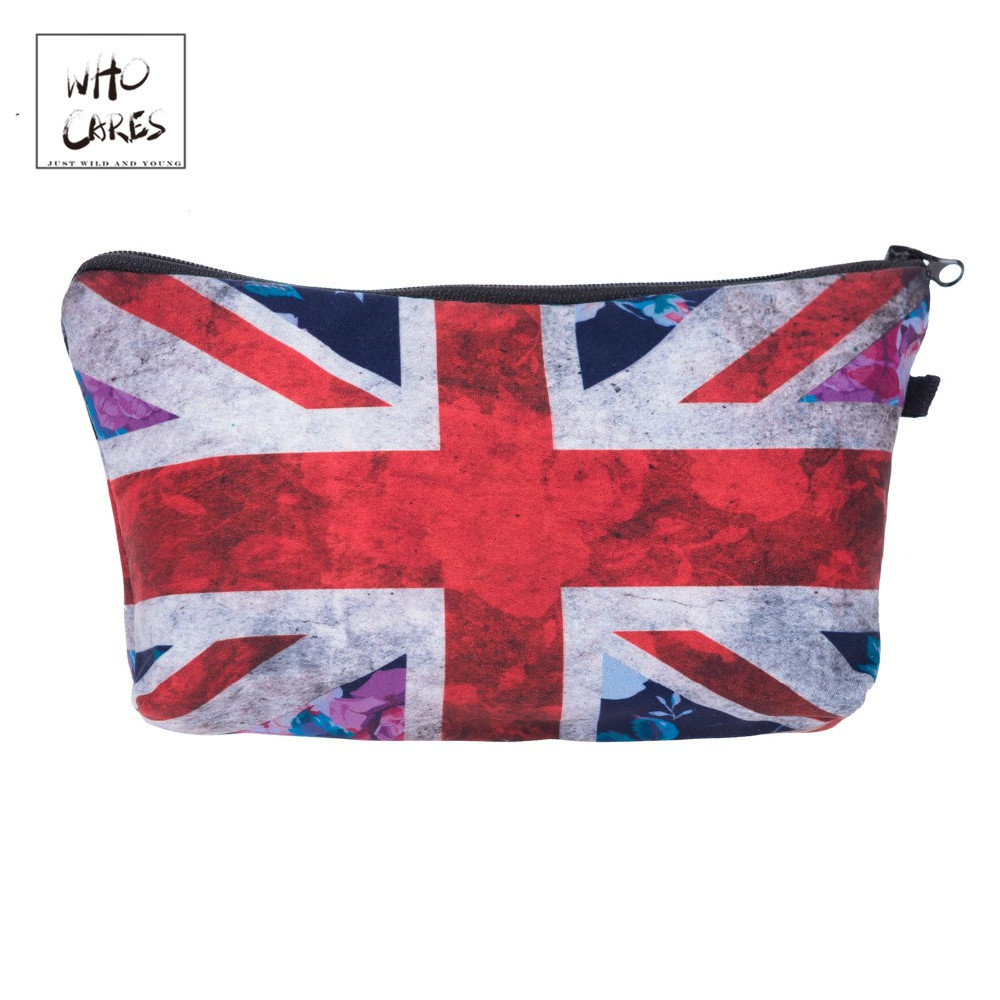 Who Cares Fashion British Flag 3D Printing Makeup Bags Cosmetics Pouchs For Travel Ladies Pouch Women Cosmetic Bag