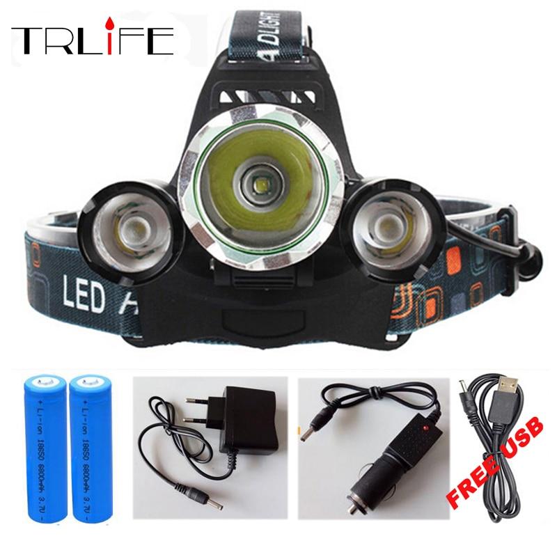 15000 Lumen 3 LED CREE XML T6 Faro Del Faro Testa Della Lampada Luce X900 Flashlight + 2x18650 Battery + AC/Car Charger/USB Per La Pesca