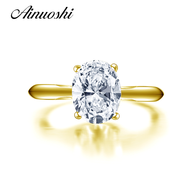 AINUOSHI 10K Solid Yellow Gold Wedding Rings 2 ct Solitaire Simulated Diamond Jewelry Classic Women Engagement Anniversary RingAINUOSHI 10K Solid Yellow Gold Wedding Rings 2 ct Solitaire Simulated Diamond Jewelry Classic Women Engagement Anniversary Ring