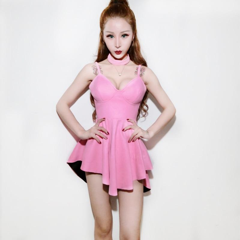 2018 rose Jazz danse Costumes pour dame femmes Bar Dj danseurs robe scène Hip hop vêtements Sexy spectacle élégant chanteur robe I300