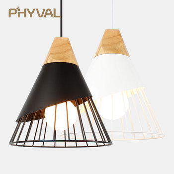 PHYVAL Pendant Lamp Modern E27 Pendant Lights Wood  For Bedroom Hanging Lamp Nordic Aluminum Lampshade LED Bulb Kitchen Light modern black wood birdcage e27 bulb pendant light norbic home deco bamboo weaving wooden pendant lamp