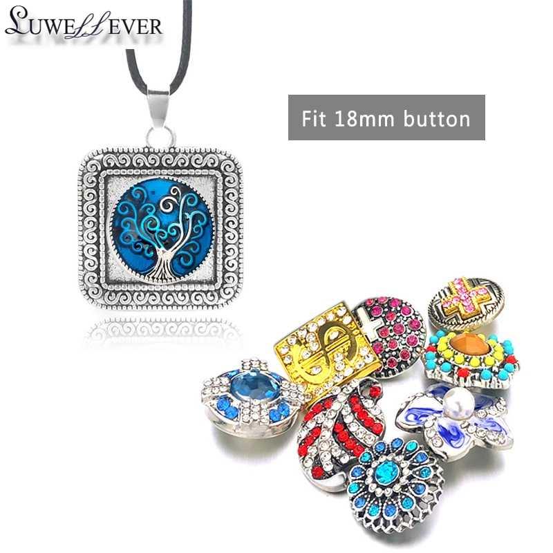 Hot moda wymienne metalowe kwadratowe imbir naszyjnik 020 18mm przystawki przycisk wisiorek naszyjnik z amuletem biżuteria dla kobiet prezent
