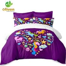 4pcs Bedding Set Cute Unicorn Duvet Cover Cartoon Bed Linens Flat Sheets Pillowcase Kids Colorful Sheet D35