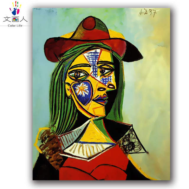 Us 8 32 48 Off Diy Colorings Paintings By Numbers Picasso S Famous Abstract Paintings Pictures By Numbers Woman With A Hat 40x50 Diy Frame In Paint