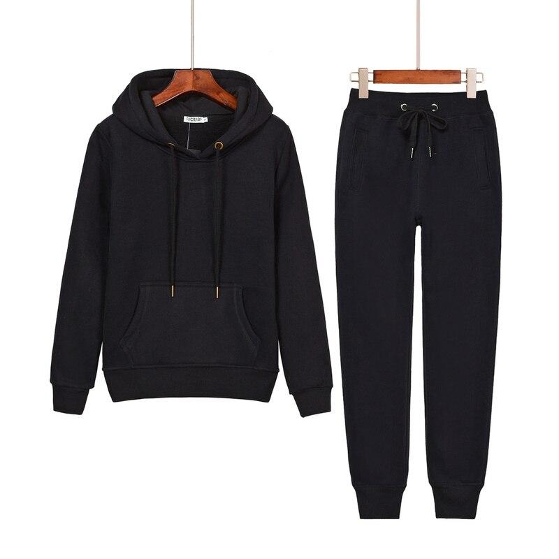 Women Two Piece Clothing Set Autumn Tracksuit Patchwork Hoodie Sweatshirt Long Pant Jogger Outfit Set Female sportwear Suit T111
