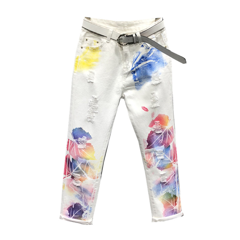 plus size 30 31 32 Hole print   jeans   women loose white pants personality painted high waist harem pants female H268