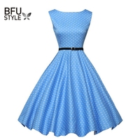 Summer Women Dress Floral Print Retro Vintage 50s 60s Polka Dot Vintage Dresses Elegant Ukraine Dress