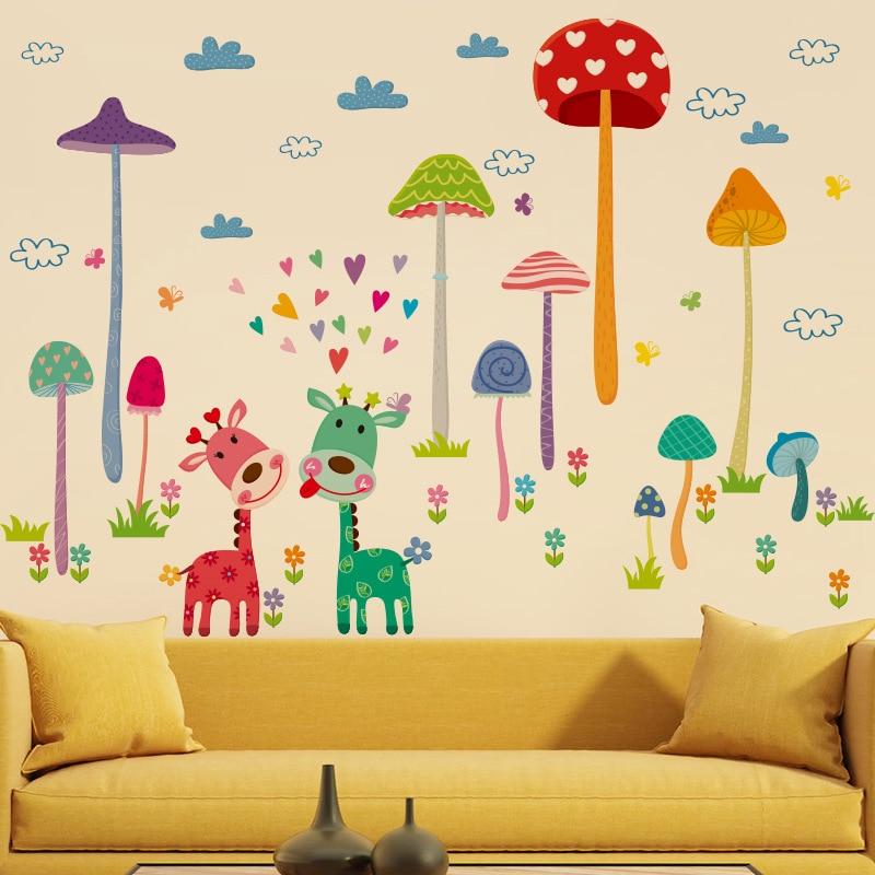 Cartoon Animal Forest Fawn Wall Sticker Houbařská zeď Nálepka Nástěnná malba Art Home Decor pro děti Chlapecké pokoje Dekorace školek