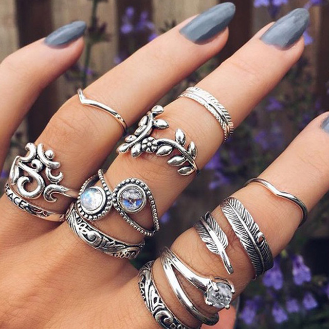 HuaTang Bohemian Antique Silver Ring Geometric Elephant Flower Green Rhinestone Knuckle Rings Midi Finger Anel Rings Jewelry 32
