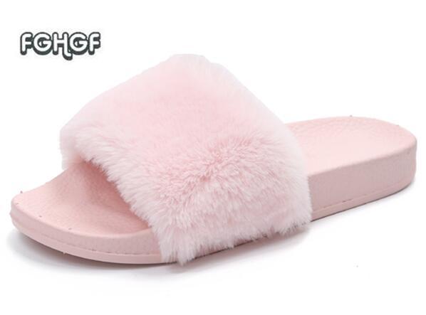 Fur Slippers Women Home Slippers Fur Slides Women Floor