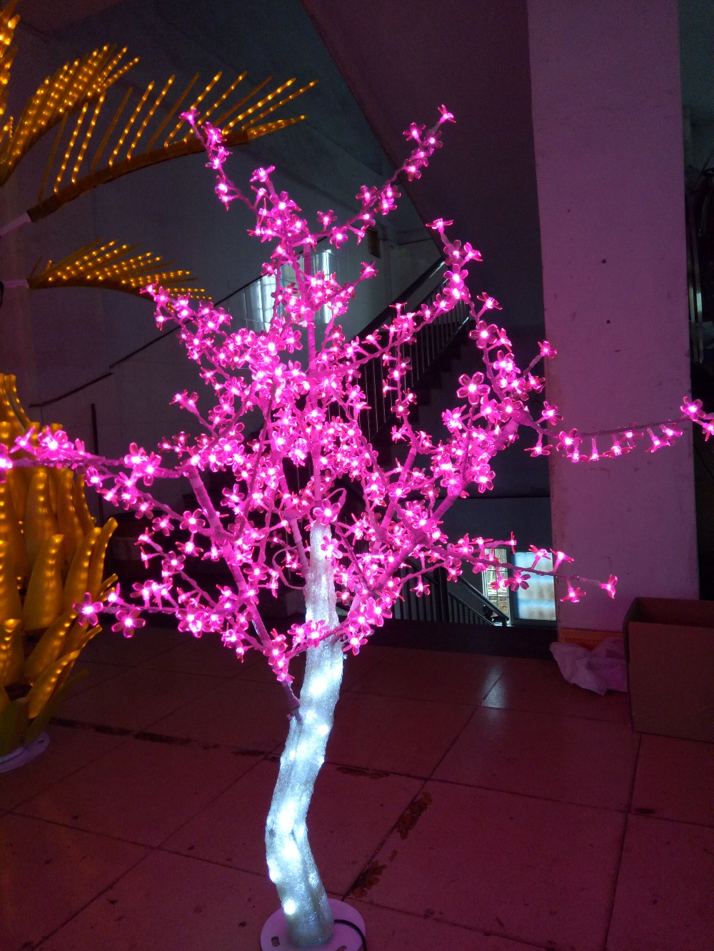 Free ship 5ft 1.5M LED Christmas New year party holiday LED Light Crystal Cherry Blossom Tree Pink Color waterproof IP65