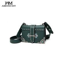 Luxury Brand Rivet Small Handbags Celebrity Women Vintage Leather Messenger Bag Metal Hollow Flower Designer Lady Bag With Pearl
