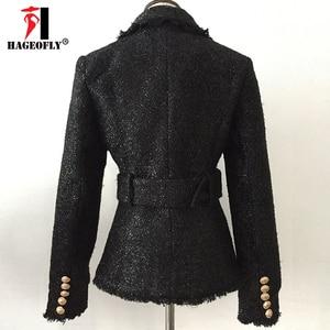 Image 4 - Blazer negro de invierno de alta calidad para mujer, chaqueta de abrigo corta delgada con doble botón dorado y cinturón de lana brillante, traje de oficina, Blazer para mujer