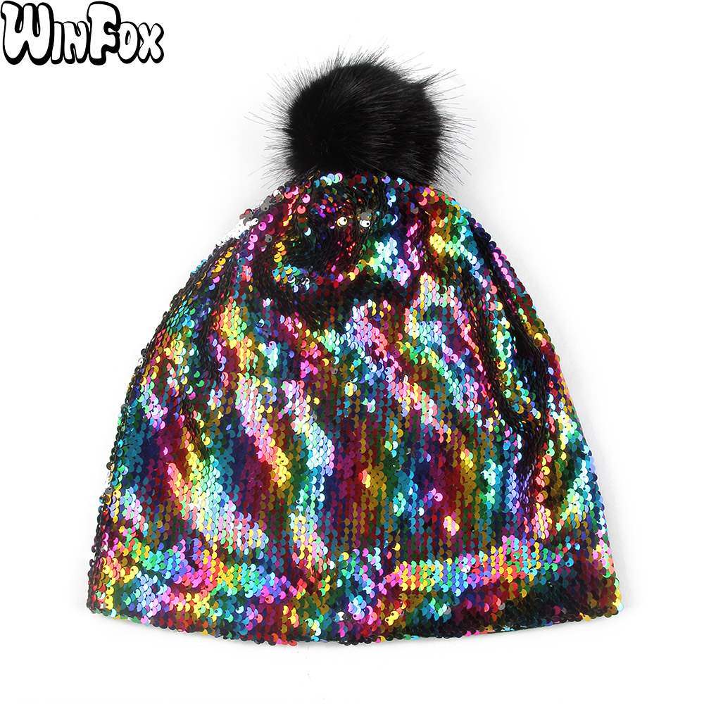 Winfox New Spring Hip Hop Punk Womens Rainbow Multicolor Color Metallic Sequins   Skullies     Beanies   Hats With Fur Pom Pom Caps Men