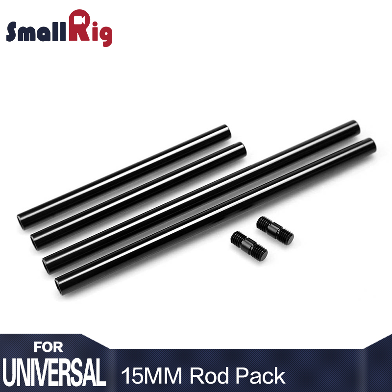 SmallRig 15mm Rods Pack With M12 Thread Rod Cap Connectors Aluminum Alloy Rods Combination 2 Pairs
