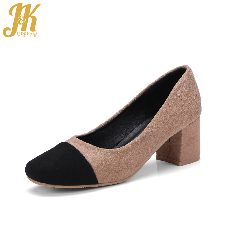 JK New High Heel Women Pumps Thick Heels Square Toe Shallow Slip On Stitching Footwear 2018 Spring Fashion Ladies Office Shoes gold chain party 2017 spring summer casual shallow slip on square toe bling square heels women pumps free ship mujer pantufa