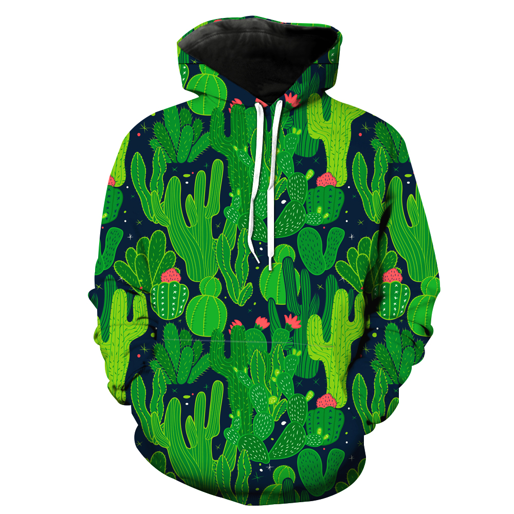 New Fashion 2019 Children Hoodies 3D Green Cactus Print Kids Boys Girls Outerwear Brand Spring Autumn Long Sleeve Sweatshirt