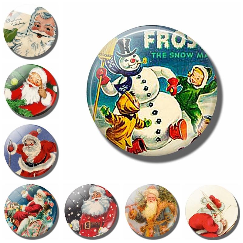 Магнит на холодильник со снеговиком и Санта Клаусом, 30 мм, мультяшный стеклянный холодильник, магнитная наклейка, домашний декор, рождественский подарок