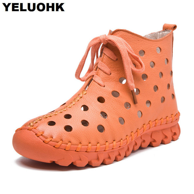 2017 New Hollow Summer Boots Soft Leather Shoes Women Comfortable Handmade Women Moccasins Flat Shoes High Top Flat women s shoes 2017 summer new fashion footwear women s air network flat shoes breathable comfortable casual shoes jdt103