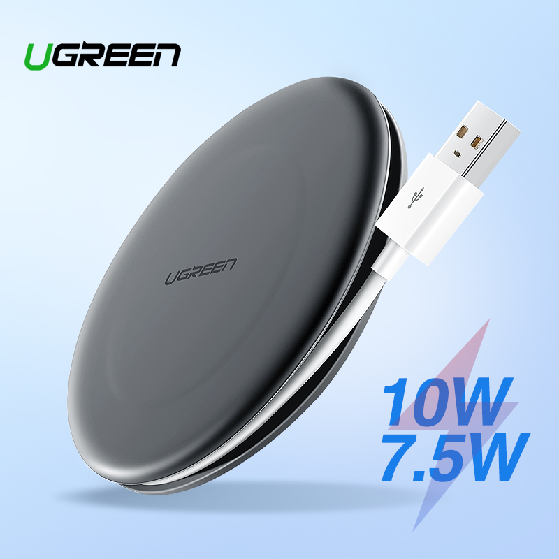 Ugreen Qi cargador inalámbrico para iPhone 8 X Xr Xs Max 10 W rápido de carga inalámbrica cargador de teléfono para Samsung galaxy S8 S9 + Nota 9