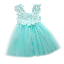 Cute Baby Girl Dress Princess Party Sleeveless Dress Pearl Lace Tulle Flower Backless Gown Fancy Dress