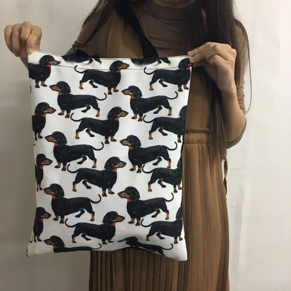 Cute Cartoon Cat Print Canvas Shopper Bags Reusable Female Large Tote Cotton Bags Shopping Bags For Ladies Bag