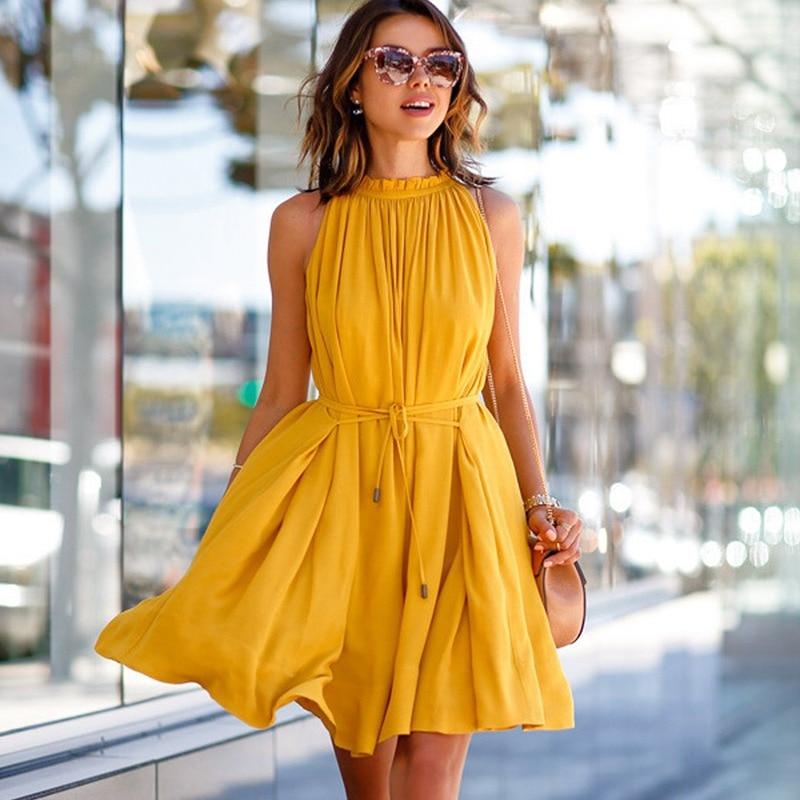 Spring Ladies Yellow Ruffles Sleeveless Dresses Women Pockets Pleated Mini Dress 2019 O Neck Casual Belt Boho Dress Summer