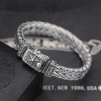 925 стерлингового серебра гексаграмма панк браслет Для мужчин Европа и Соединенные Штаты модные женские туфли Ретро тайский серебряный ручн