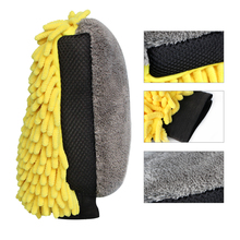 2PCS Waterproof Car Wash Microfiber Chenille Glove 4 In 1 Multifunction Thick Car Cleaning Mitt Car Wax Glass Detailing Brush