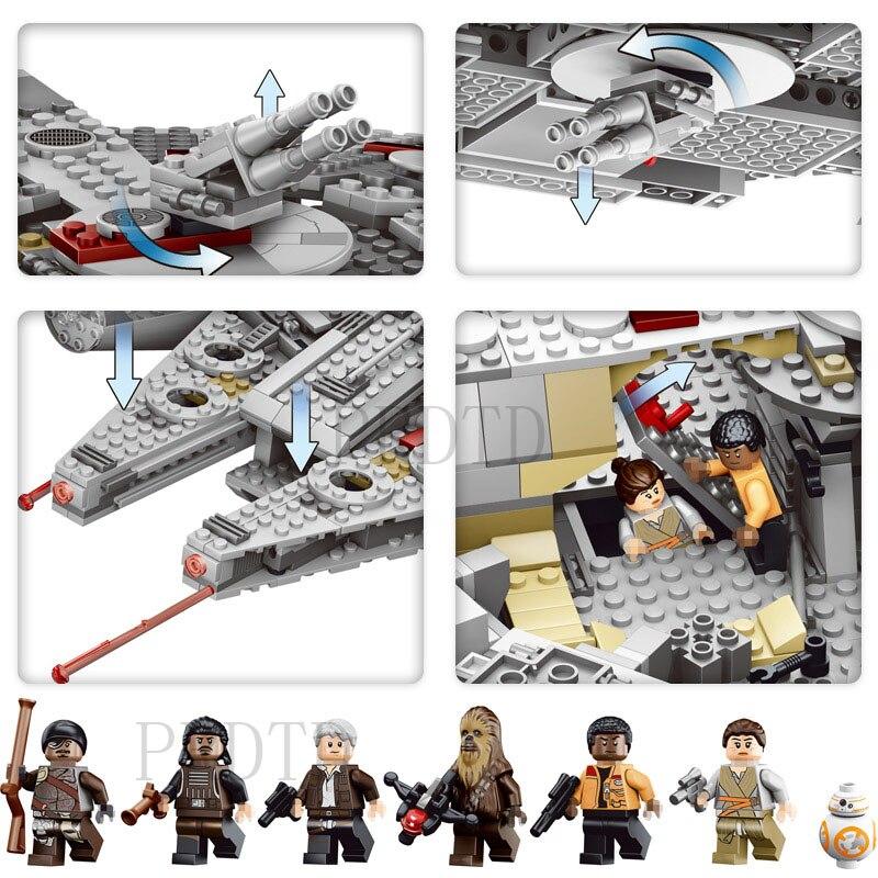 1381 Pcs Blocs de Construction LegoINGLYS StarWars Millennium Falcon Chiffres Star Wars Modèle Force Éveille Inoffensif Brique 75105 kid Jouet - 3
