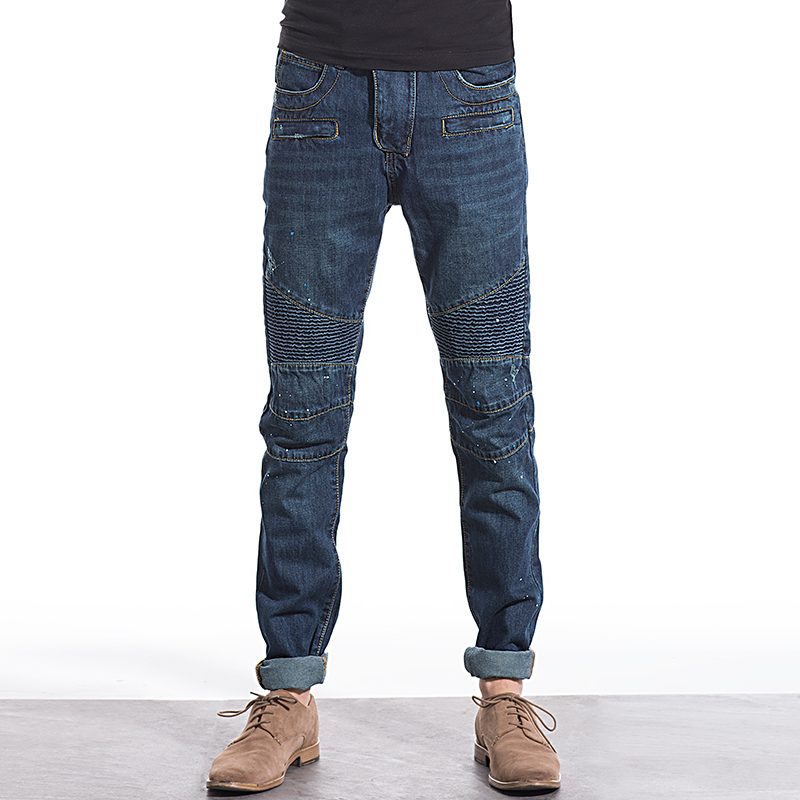 Big Brand Biker Men Jeans Fashion Cotton Denim Jeans Men Slim Washed Mens Jeans Size:28~38 2017 Hot Sale! dsel brand men jeans denim white stripe jeans mens pants buttons blue color fashion street biker jeans men straight ripped jeans