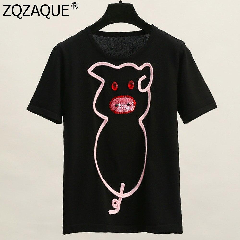 Trendy New Summer Thin T-shirts Cute Cartoon Pig Sequins Decor Tee Fashion Women's Bottom Knit Tops White Black Nice Tops SY2017