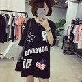 Verão Coreano Moda de Nova Dos Desenhos Animados Do Alfabeto Impressão camiseta Loose Women Tamanho Grande Tops Feminino Curto-manga Engraçado T camisas 2017