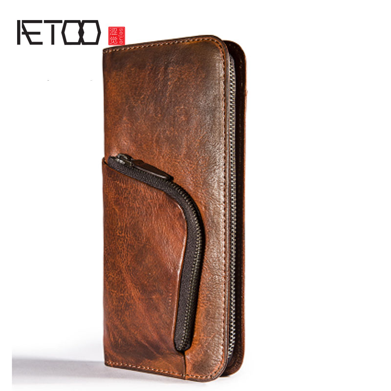 AETOO Vintage old men's wallet long section personality large-capacity leather handbag zipper men cell phone bag leather zuoyi crocodile leather original zipper snap multifunctional in large capacity and long wallet