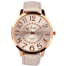 Excellent Quality Women's Watches Numerals Golden Dial Leather Strap Watches Women Dress Quartz Watches relogio feminino