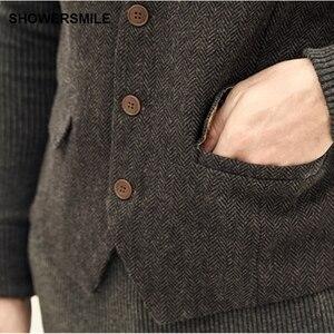 Image 4 - Showersmile ヘリンボーンストライプグレーのスーツのベストシングルブレストヴィンテージチョッキ男性イングランドスタイル秋プラスサイズジレオム