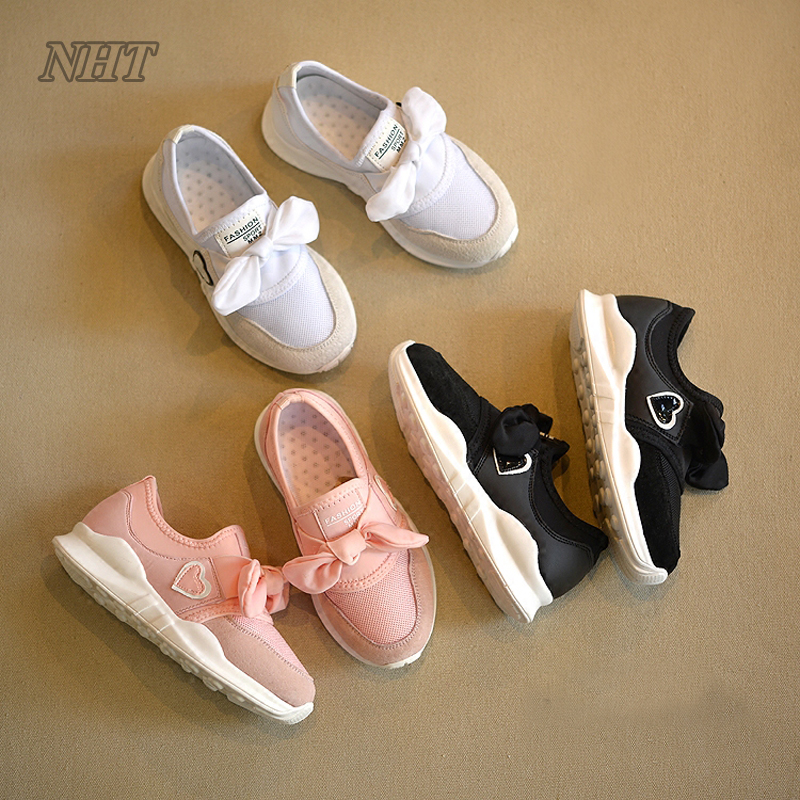 Cute Baby Girls Shoes with Bow-knot Walking, Children Toddler Sneakers Lovely Your Princess Shoe Kids 21~37 Size baby girls princess shoes kids children princess shoes baby girl first walkers flower toddler infant shoe baby kids shoes