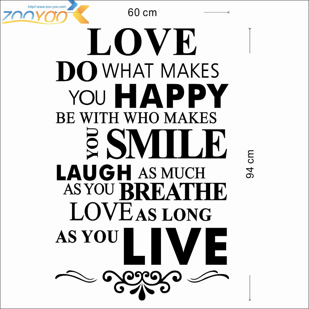 Living Life Quotes Happy Love Smile Live Life Inspirational Quotes Wall Stickers