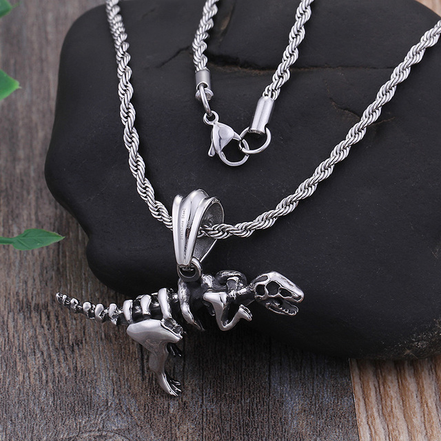 STAINLESS STEEL DINOSAUR SKULL NECKLACE