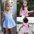 2016 New Summer baby girls clothes set Plaid Ruffles Tops Dress + Briefs Outfits Suit Next Baby Clothing Set