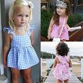 2016 Novo Verão do bebê meninas roupas definir Xadrez Ruffles Tops Vestido + Cuecas Roupas Terno Próximo Conjunto de Roupas de Bebê